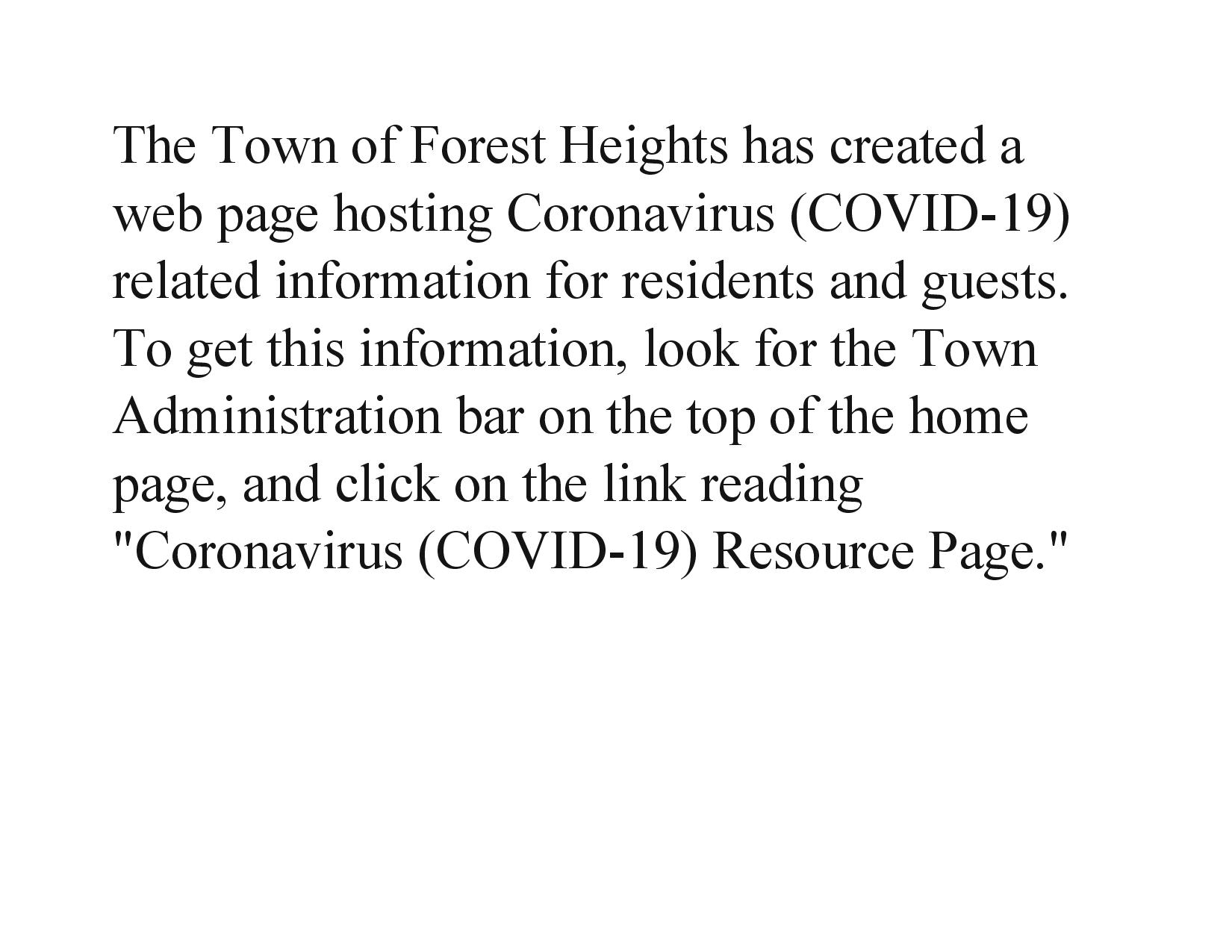 The Town of Forest Heights has created a web page hosting Coronavirus-page-001 (1)