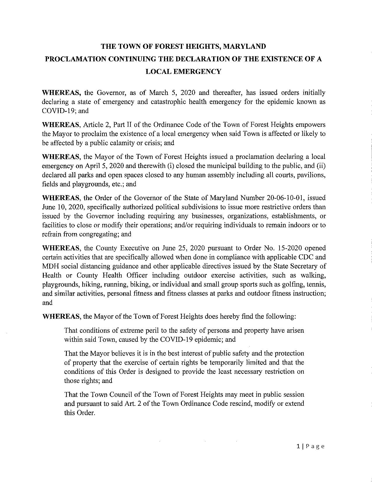 Proclamation continuing the declaraton of the existence of a local emergency-page-001