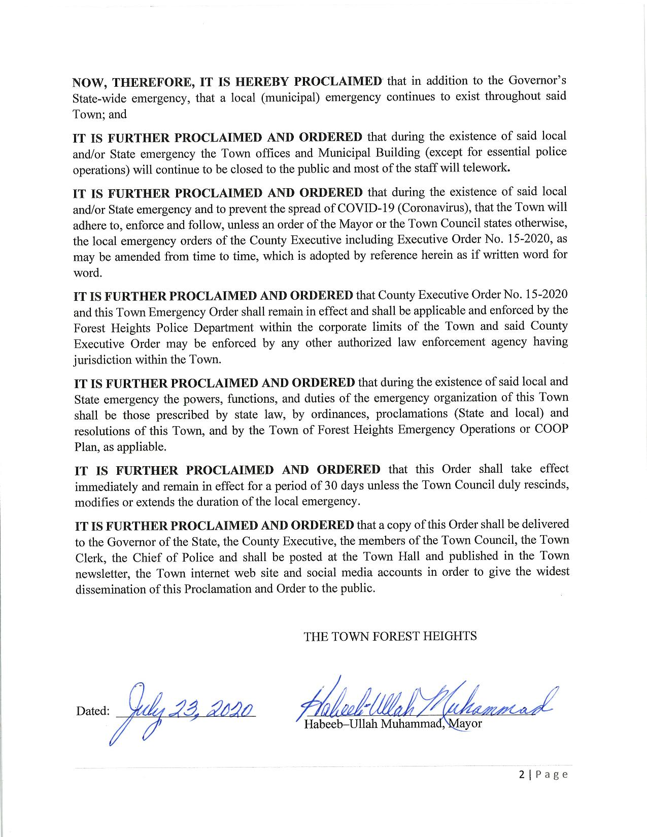 Proclamation continuing the declaraton of the existence of a local emergency-page-002
