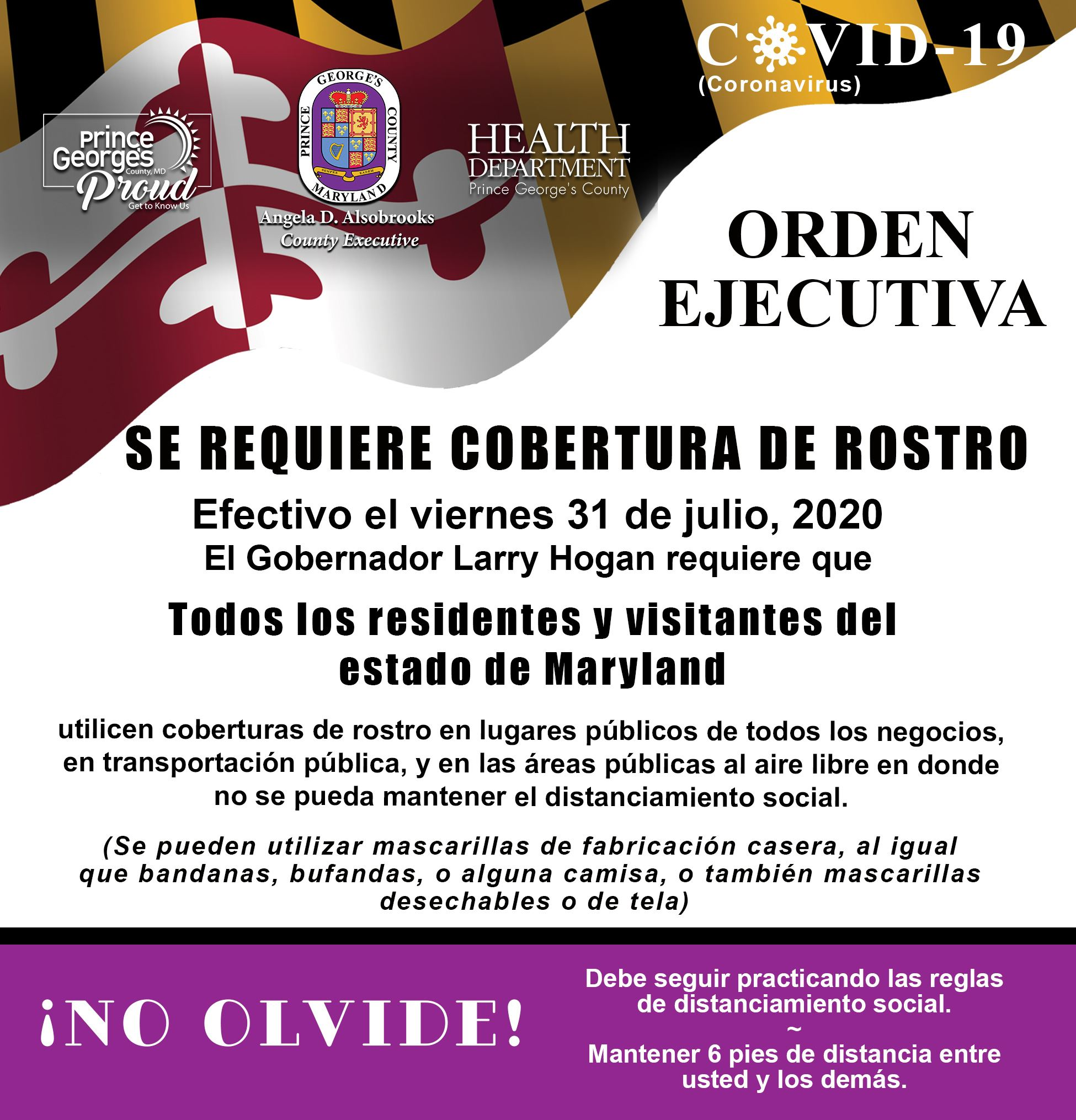 Gov Hogan Mask Order July 31 Spanish
