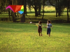 Children flying a kite