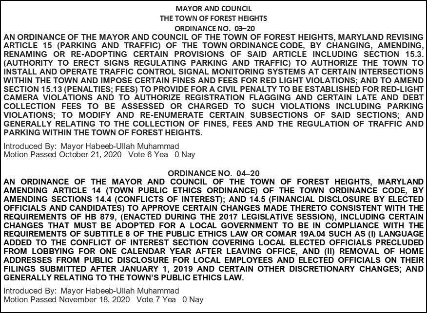 Ordinance 03-20 and 04-20